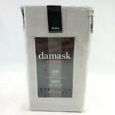 damask Stripe Bed Skirt Full Size 500 Thread Count 100% Egyptian Cotton Silver