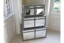 BLACK SILVER EMBOSSED MIRRORED GLASS BLANKET BOXES TRUNKS STORAGE (DX3242)