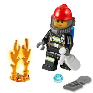 LEGO City Minifigure - Firefighter 👩🚒 with Accessories and Fire Flame