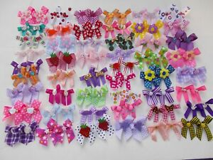100 Fancy Dog Pet Child Baby Grooming Bows 2 sizes color variety Lot  # 147