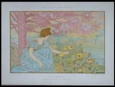 LE JARDIN, POPINEAU -1898- LITHOGRAPHIE, ART NOUVEAU, FEMME, FLEURS