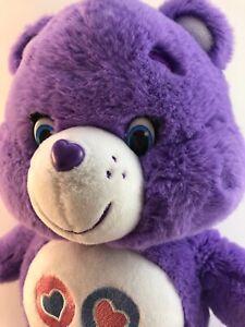 "Purple Care Bears Share Bear 2002 Play Along Hearts Lollipops 14"" Very Soft!!"