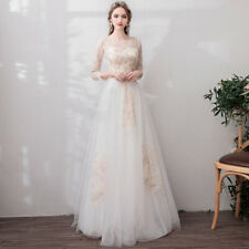 wedding dress simple elegant bridal gown long sleeve golden lace