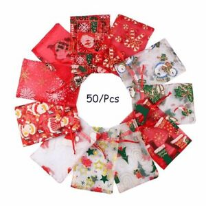 Christmas Drawstring Organza Gift Bags Pouch Candy Shell Chocolate Wedding Party