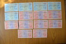 LOTTO 14 BANCONOTE miniassegni banca CREDITO ITALIANO LIRE 100 150 ANNI '70