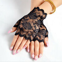 Women Gloves Hollow Lace Party Wedding Summer Short Gloves Wrist Fingerless G