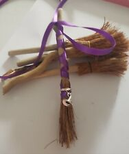 Mini Driftwood Besom scented with Blue Lotus Flower, Purple ribbon & Witches hat