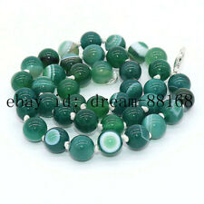 AAA 10MM GREEN STRIPED AGATE GEMS STONE ROUND BEADS JADE GEMS CHARM NECKLACE 18""
