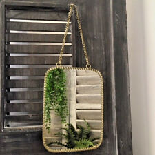 Small Rectangular Mirror Vintage Brass Metal Frame Wall Hanging Metal Chain Loop
