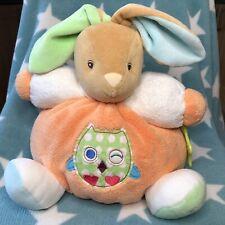 Kaloo Chubby Mixed Colours Bunny Rabbit Baby Comforter Soft Toy Owl Motif Orange