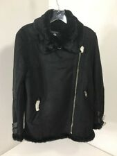 BOOHOO BOUTIQUE WOMEN'S PAIGE BOUNDED AVIATOR JACKET BLACK UK:10/US:6 NWT $105