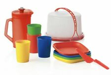 NEW TUPPERWARE KIDS TOY MINI PARTY SET CAKE TAKER PLATE CUP PITCHER PRIMARYCOLOR
