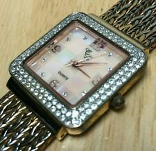 Colleen Lopez CL Lady Gold Tone Mosaic Dial Analog Quartz Watch Hour~New Battery