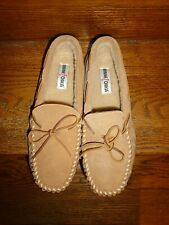 NEW~MINNETONKA: Faux Sheepskin Lined Hardsole Slipper Mocs/10/Cozy+Comfortable