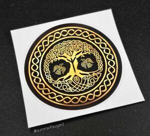 Precut Viking Yggdrasil Tree of Life Gold Sticker, Decal Norse Pagan Wicca Algiz