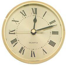 """3-9/16"""" Quartz Insert Clock, Gold Bezel, Roman, Gold Face 3"""" hole cut AA battery"""