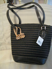 LIZ CLAIBORNE HANDBAG * SMALL BLACK * MAGNETIC SNAP CLOSURE * NEW WITH TAGS *
