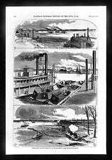 Harper's Civil War Print Island No. 10 New Madrid Mississippi Ironclads US Navy