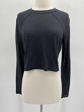 Lululemon Womens Size 8 Black Sheer Stripe Long Sleeve Undercover Crop Top