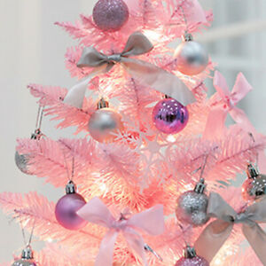 1pc Cute Christmas Tree Decor with LED Lamp Pink 60CM Christmas Tree Desktop