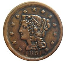 Large cent/penny 1851 collector coin with nicely placed counterstamp