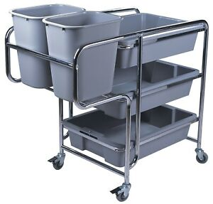 Commercial Stainless Steel Bussing Plate Clearing Collecting Trolley