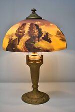 "Phoenix Reverse Painted Landscape table Lamp 16"" Shade"
