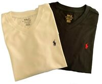 Genuine Ralph Lauren Boys T shirt new high V neck 2 pack age 7  stock clearance