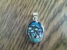 Hand Inlayed Dolphin Pendant with Sterling Silver Casing