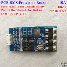 5S 18V 10A w/Balance BMS Protection PCB Board for 18650 Li-ion Lithium Battery