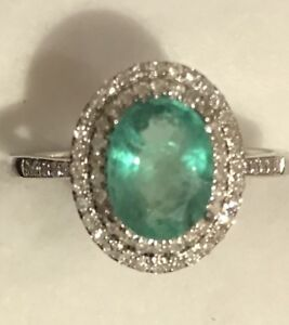2.15CTW Cut Natural Green Emerald & Real Diamond Ring Solid 14k White Gold