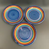 GMT Salad Plates Swirl Multi-color Blue Yellow Red Purple  7 3/8 2001 - Lot of 3