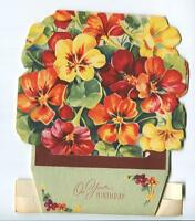 VINTAGE RED ORANGE YELLOW VIOLETS GARDEN  FLOWERS LITHO STAND UP ART CARD PRINT