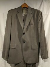Banana Republic Men's 2 Button Suit Jacket Pants 42R Regular Beige Blue Striped