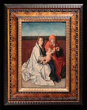 Dipinto ad olio: Pittore Fiammingo del '500 - VERGINE CON BAMBINO E S.ANNA