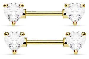 PAIR ❤14G GOLD TITANIUM PRONG SET HEART CZ STEEL BARBELL NIPPLE RING NIPPLERINGS