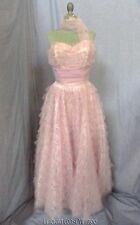 Romantic Vtg 50s Pink Tulle Lace Strapless Formal Party Prom Dress XS Attachment