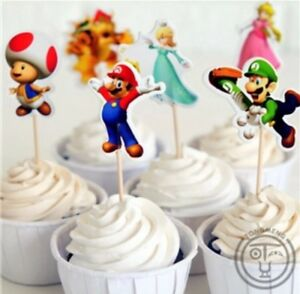 12x Super Mario Bros Cupcake Food Cake TOPPER Party Supplies Lolly Loot Bag Flag