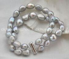 2 Rows 10-11mm baroque gray freshwater pearl bracelet 7.5'' C3095
