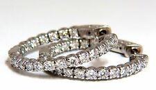1.55ct natural round brilliant in/out diamond hoop earrings 14kt g/vs 1 inch