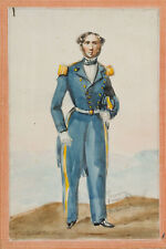 Offizier der französischen Marine in Uniform, 1848, Aquarell