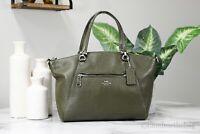 Coach 79997 Prairie Cargo Green Pebbled Leather Satchel Crossbody Handbag Purse