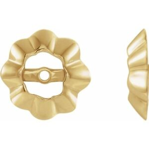 Scalloped Earring Jackets 14K White and Yellow Gold  For Up to 1 ct Studs
