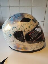 Una pintado personalizado de!!! Pitufos Moto Casco de Motocicleta Rostro Completo!!!! nuevo!!!
