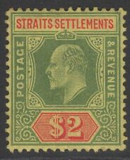 MALAYA STRAITS SETTLEMENTS SG166 1909 $2 GREEN & RED/YELLOW MTD MINT