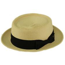 Men's Everyday Light Summer Ribbon Porkpie Boater Derby Fedora Sun Hat Nat S/M