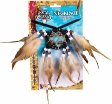 Native American Indian Dream Catcher Necklace Beaded Feathers Costume Accessory