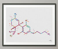 CDB Molecule Cannabidiol Watercolor Print Chemical Molecule Wall Art Cannabis