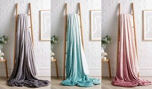 Fleece Blanket Sofa Throw Chevron Soft Warm Faux Fur Mink Double & King Size