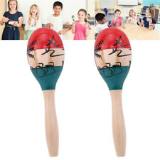Large Adult Wood Maracas Colourful Wooden Tropical Party Percussion